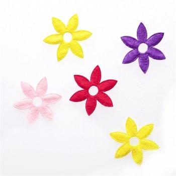 Текстильные дутые элементы микс цветов 6 лепестков цветы
