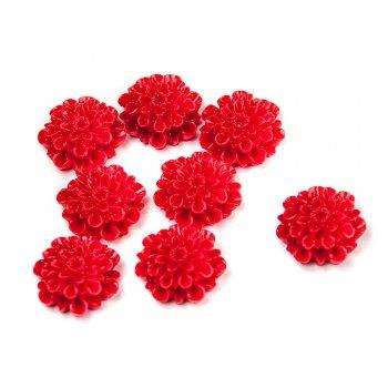 Пластиковые клеевые элементы. Цветок красный