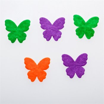 Бабочки. Текстильные дутые элементы, микс цветов, 25х27 мм