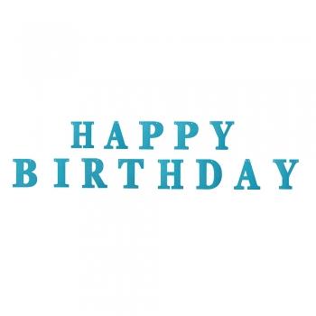 Гирлянда блестящая Happy Birthday голубая