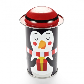 Коробочка жестяная 11,6х5,4 см пингвин с красной шапочкой