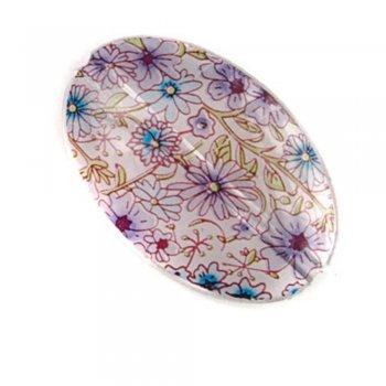 Полимерные бусины с цветочным узором. Овал большой