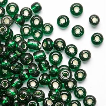 Бісер круглий, великий, темно-зелений. Калібр 6 (3,6 мм)