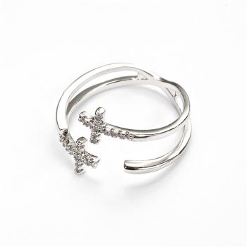 Металическое кольцо Крест LUX