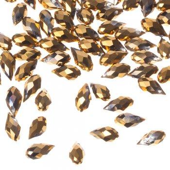 Бусина каплевидная золотистая хрусталь 13 мм