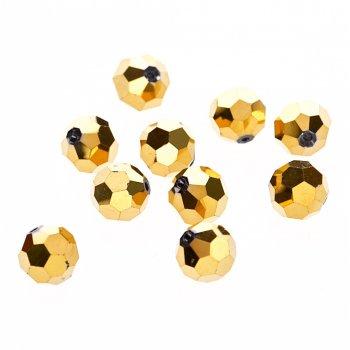 Кришталева намистина кругла 12 мм золотиста металік