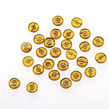 Чеські скляні намистини жовтий ребристий 12 мм
