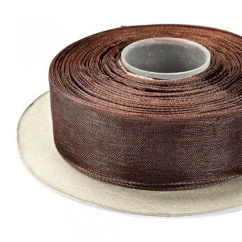 Лента из органзы 20 мм темно-коричневая