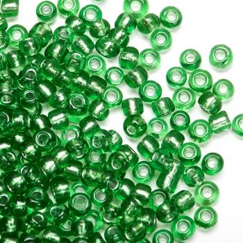 Бісер круглий, невеликий, зелений, прозорий. Калібр 12 (1,8 мм)