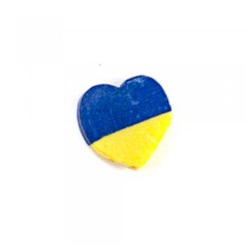 Серце. Намистина з полімерної глини, жовто-синя, 10 мм