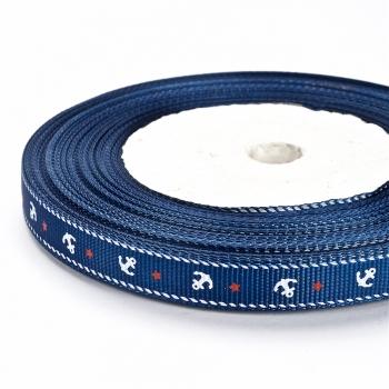 Стрічка репсова 10 мм синя з якорями