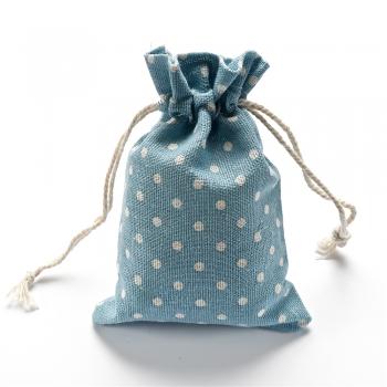 Мешочек из мешковины 10х14 см голубой в горошек