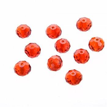 Хрустальные бусины прозрачный красный