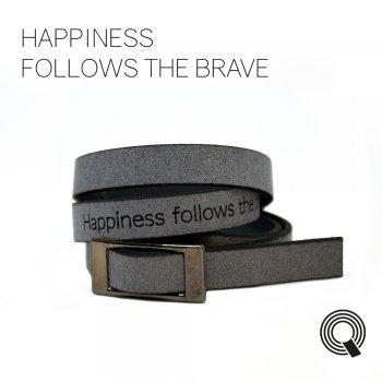 "Браслети квоутлети ""Happiness follows the brave"", темно-сірий"