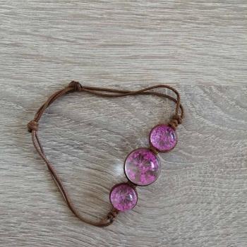 Браслет c сухоцвітом рожевий