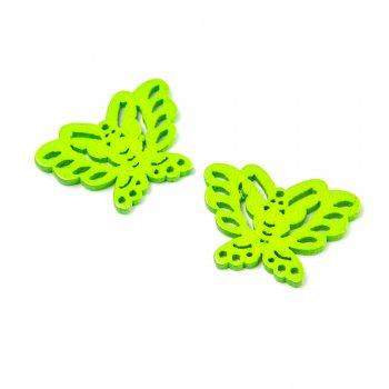 Подвески деревянные. Бабочка неоново-зелёная. Размер 20 * 27 мм.