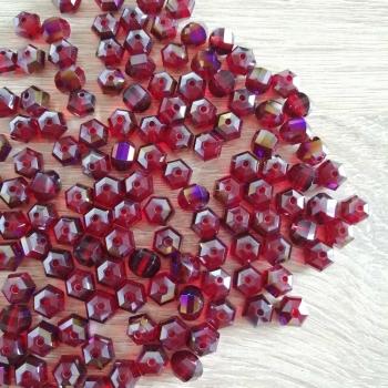 Хрустальная бусина рондель 8 мм красная
