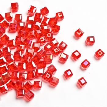Кришталева намистина в формі куба 6 мм червона райдужна