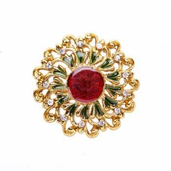 Кулон металевий золото червоний камінь