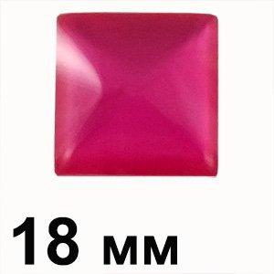 Пластикові кабошони червоний опуклий квадрат