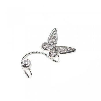 Серьги-каффы с бабочкой