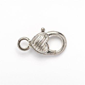 Карабін для брелка серце в смужку 25 мм сріблясте