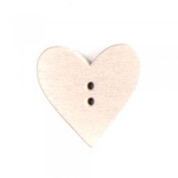 Гудзик дерев'яний бежевий Серце 24х24 мм