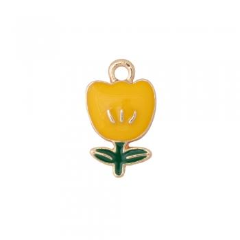 Металлическая подвеска с эмалью желтый тюльпан