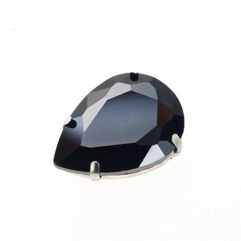 Стразы стеклянные в металлической оправе. Черный. 25х18 мм