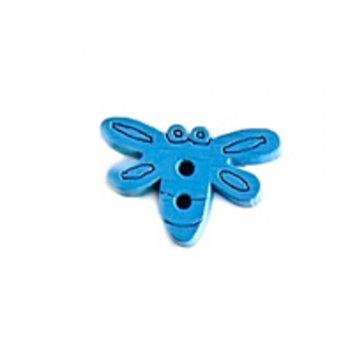 Метелик великий, ґудзик дерев'яний, синій, 15х20 мм