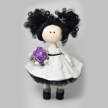 Текстильна лялька в білій сукні в горошок (ручна робота)
