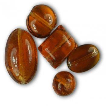 Бусина стеклянная коричневая Круглая плоская