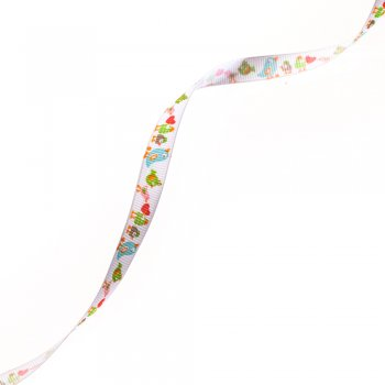 Стрічка репсова  з візерунком пташки 10 мм білий