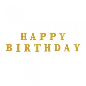 Гирлянда блестящая Happy Birthday золотистая