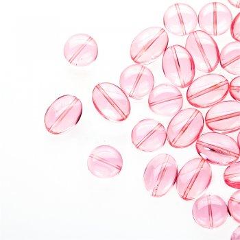 Бусина овальная. Чешское одноцветное стекло розовый