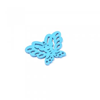 Подвески деревянные. Бабочка синяя. Размер 20 * 27 мм.