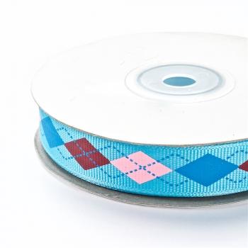 Лента репсовая 15 мм голубая с ромбовидным узором