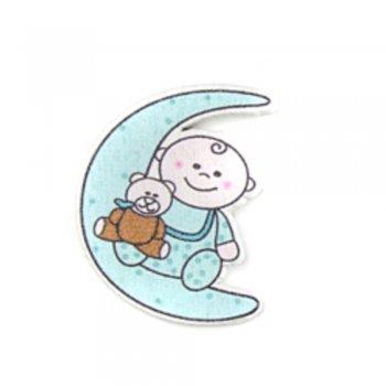 Ребенок на луне. Деревянные клеевые элементы