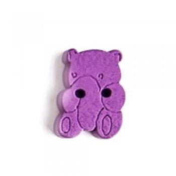 Пуговица деревянная Медведь фиолетовая 14х19 мм