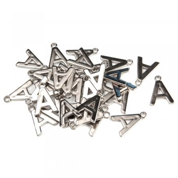 Буква А, Пластик під метал. Мельхіоровий. Довжина 25 мм.