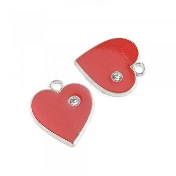 Сердце красное с камнем. Подвеска с цветной эмалью мельхиоровый