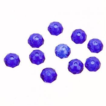 Кришталева намистина рондель 4 мм синя
