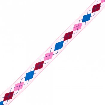Лента репсовая с ромбовидным узором 15 мм, розовый