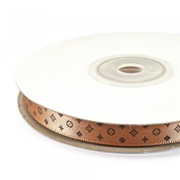 Стрічка атласна 10 мм під Louis Vuitton коричнева