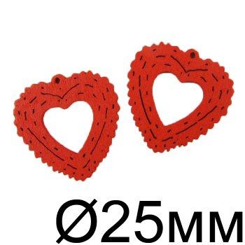 Подвески деревянные красный 25 мм