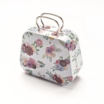 """Коробочка бляшана у вигляді сумочки, """"Троянди"""" 7х5,5х3,5 см"""