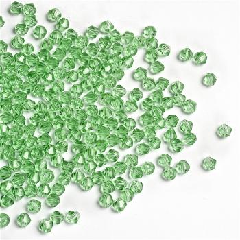 Хрустальная бусина биконус 4 мм зеленая прозрачная