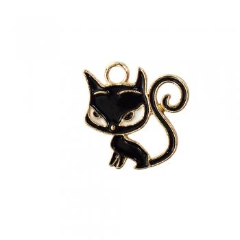 Металева підвіска з емаллю Чорний кіт