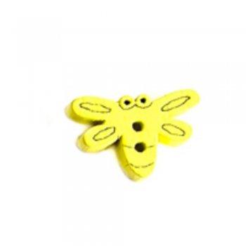 Мотылек большой, пуговица деревянная, желтая, 15х20 мм