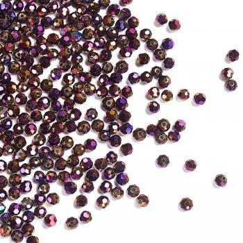 Хрустальная бусина рондель 4 мм фиолетовая радужная